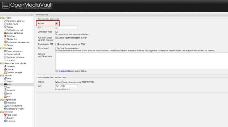 Activation SSH et FTP